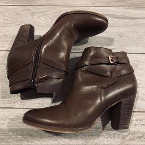Cole haan genuine leather brown boots with heels